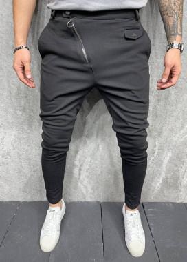 Изображение Брюки черные текстильные с косой молнией MFStore