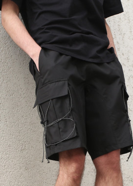 Изображение Шорты карго черные мужские с рефлективным шнуром Мейсон