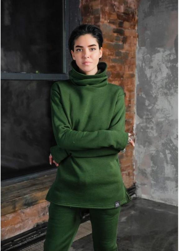 Изображение Лонгслив женский хомут на флисе зеленый
