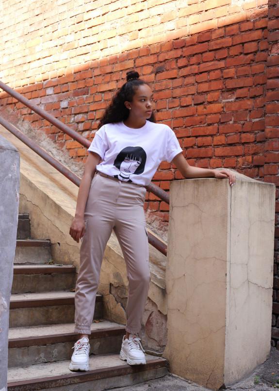 Изображение Брюки женские карго бежевые Tur streetwear