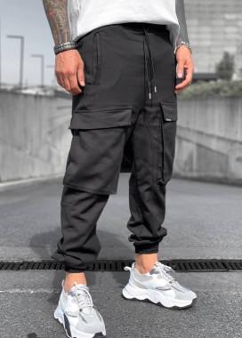 Изображение Джоггеры мужские карго на манжетах черные MFStore