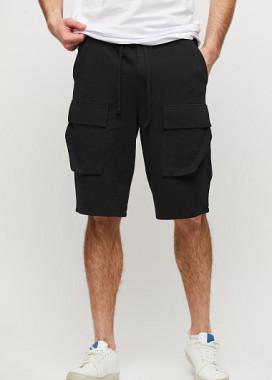 Изображение Шорты мужские с накладными карманами черные