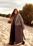 Изображение Пальто женское Oversize принт мелкая гусиная лапка - двухцветное/серое