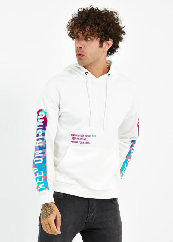 Изображение Худи мужское с принтами на груди и рукавах белое MFStore