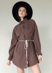 Изображение Рубашка коричневая из коттона женская