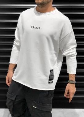 Изображение Кофта оверсайз мужская с принтом saints белая MFStore