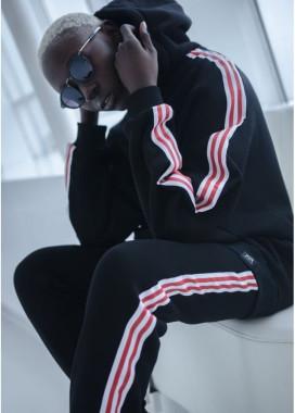 Изображение Худи женское Sport с лампасами черное