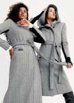 Изображение Серое женское пальто длинное