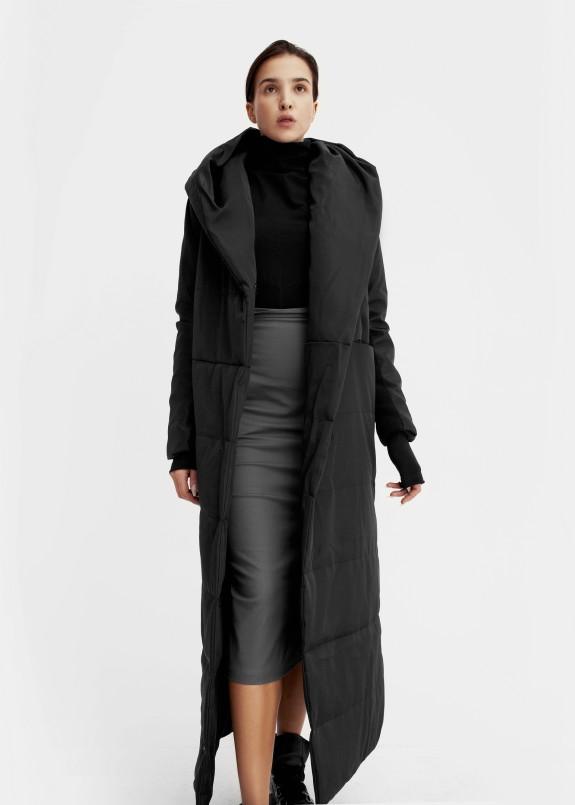 Изображение Женский черный пуховик с капюшоном в пол