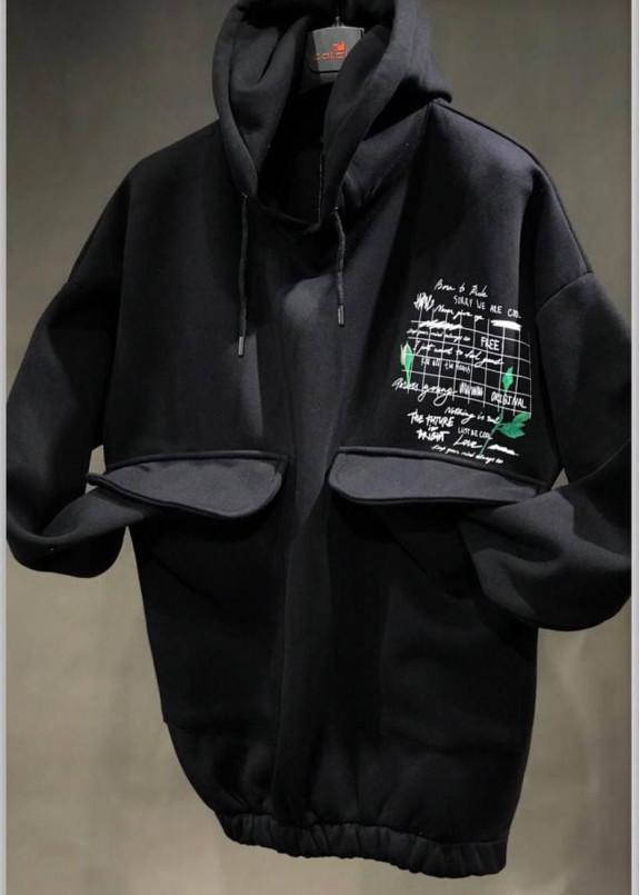 Изображение Худи мужское с карминам спереди черное MFStore