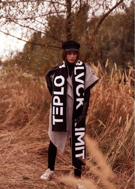Изображение Шарф женский с принтом TEPLO черный