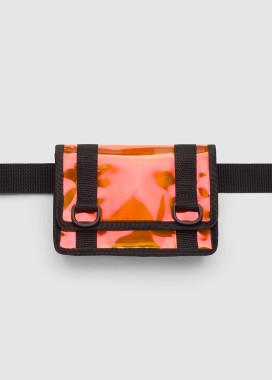 Изображение Маленькая сумка на пояс клатч оранжевого цвета с отливом