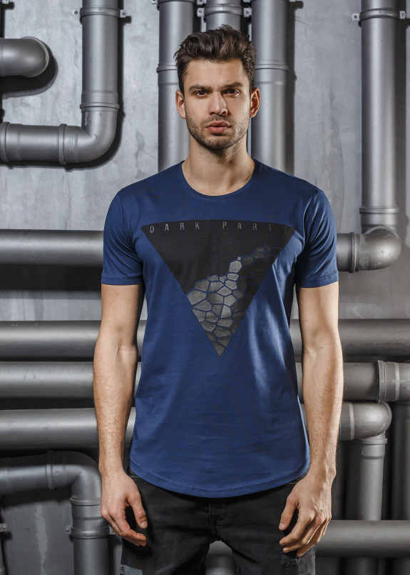 Изображение Футболка синяя с перевернутым треугольником Mfstore