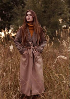 Изображение Пальто женское Oversize принт мелкая гусиная лапка - двухцветное/бежевое