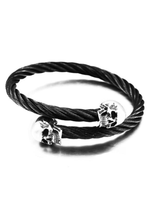 Изображение Браслет плетеная сталь с черепами Fashion