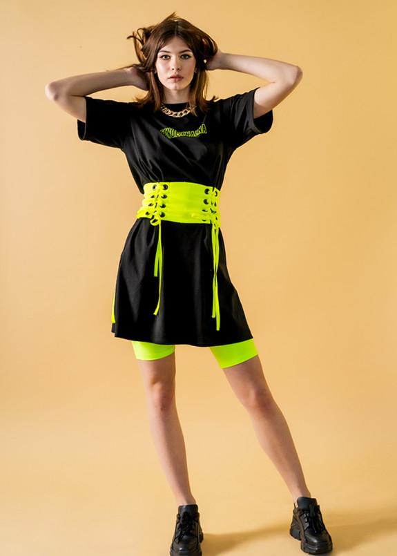 Изображение Черное платье-футболка с поясом-корсетом
