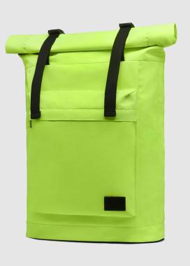 Изображение Большой рюкзак ролл-топ кислотного цвета с внешним карманом