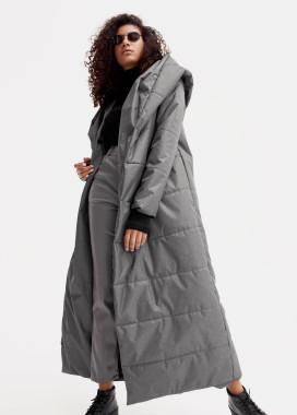 Изображение Женский темно-серый пуховик с поясом