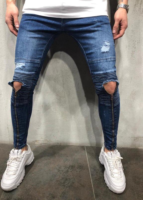 Изображение Джинсы с молниями до колена синие MFStore