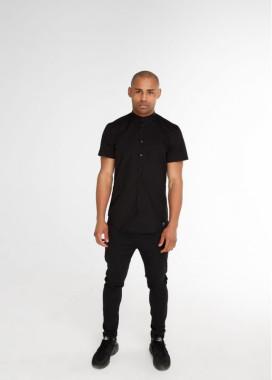 Изображение Рубашка мужская без воротника с коротким рукавом черная Black Limit