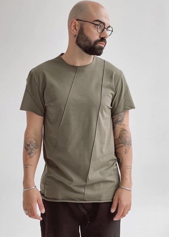 Изображение Базовая хаки футболка со строчками