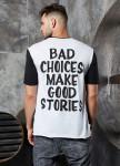 Изображение Футболка bad choices черно-белый MFStore