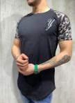 Изображение Футболка с вышивкой и узорами на плечах черный MFStore