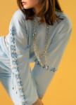 Изображение Женский костюм голубой с завязками