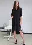 Изображение Платье-рубашка шелковое черное MARO