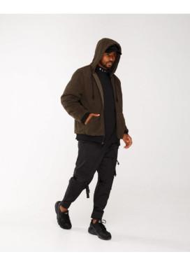 Изображение Куртка мужская плюшевая с капюшоном хаки