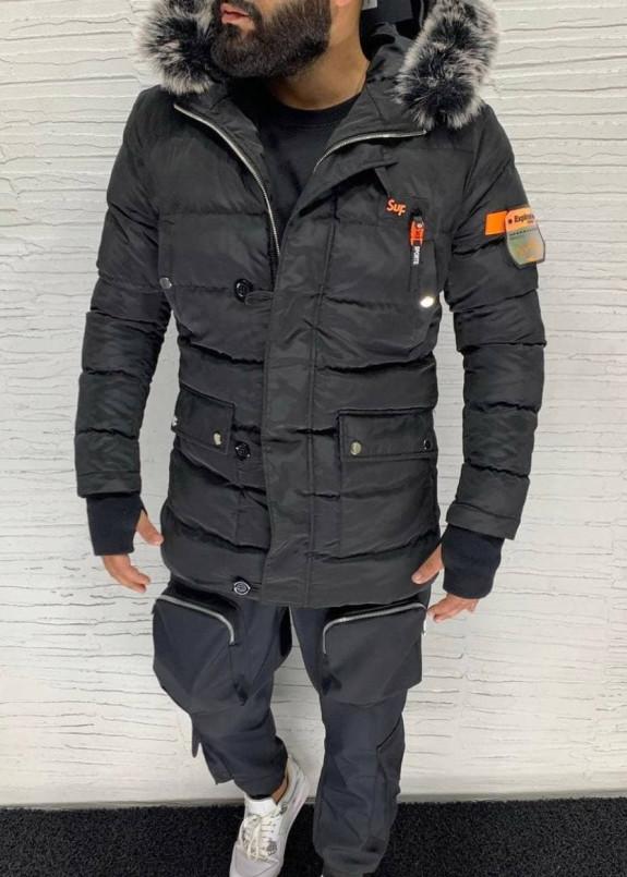 Изображение Парка мужская с оранжевой вставкой черная MFStore