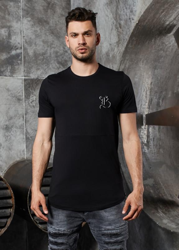 Изображение Футболка с молнией сбоку и лого на груди черная MFStore