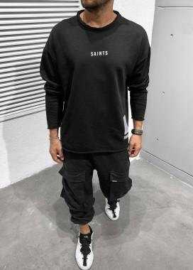 Изображение Кофта оверсайз мужская с принтом saints черная MFStore