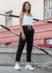 Изображение Спортивные женские штаны с полосками черные Кейдж