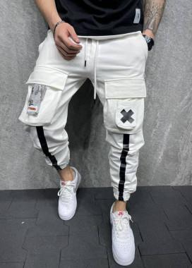 Изображение Брюки белые спортивные с крестиком и линиями MFStore
