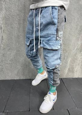 Изображение Джинсы с накладными карманами и мятными манжетами голубые MFStore