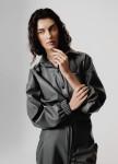 Изображение Женская серая рубашка с экокожи