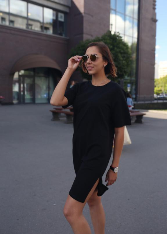 Изображение Платье-футболка женское черное