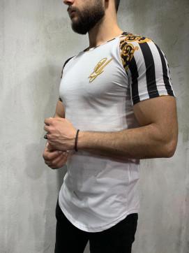 Изображение Футболка с вышивкой и узорами на плечах белый MFStore