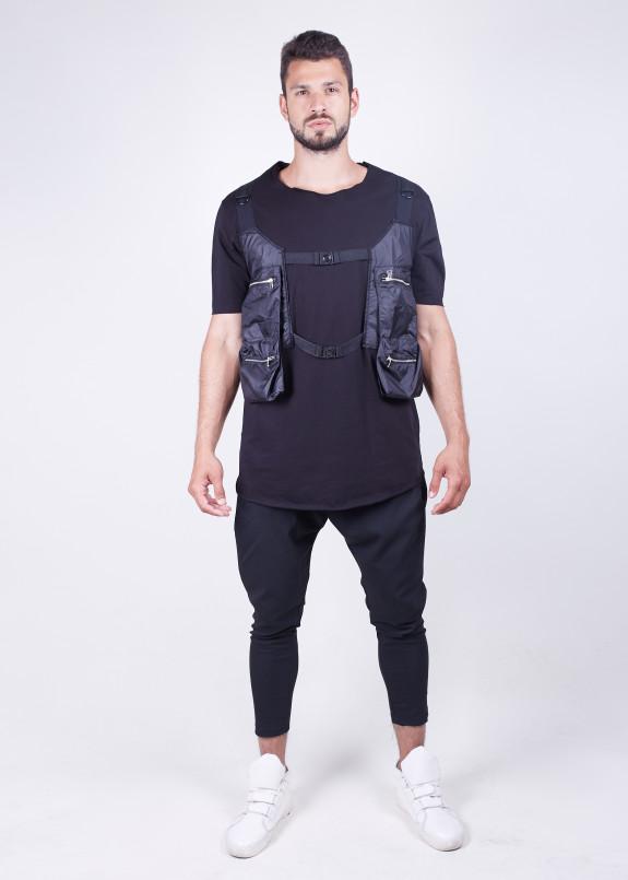 Изображение Футболка черная с карманами-сумками по бокам MFStore