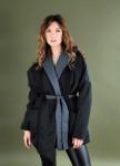 Изображение Серое укорочённое пальто ассиметричного кроя