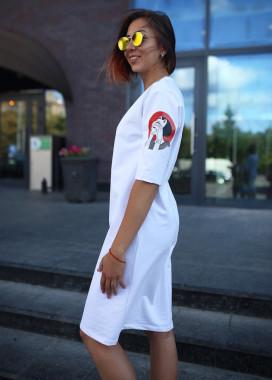 Изображение Платье-футболка женское белое Хидеко