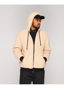 Изображение Куртка мужская плюшевая с капюшоном бежевая