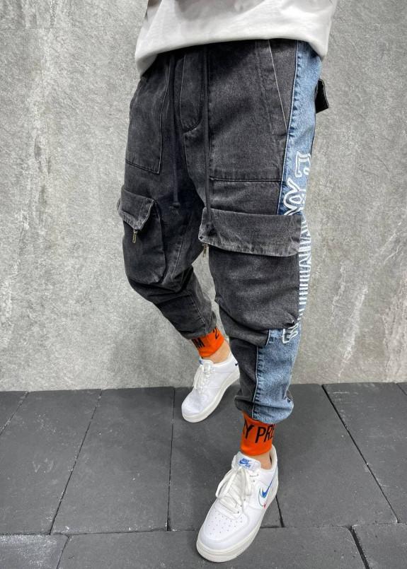 Изображение Джинсы с накладными карманами и оранжевыми манжетами серые MFStore