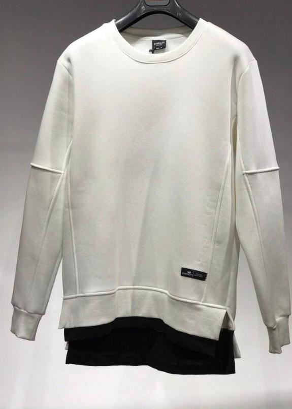Изображение Кофта белого цвета на флисе с вставкой снизу MFStore