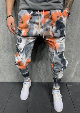 Изображение Штаны карго мужские с эффектом вареники серо-оранжевые MFStore
