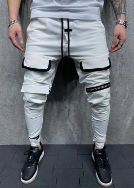 Изображение Брюки спортивные белые с разметкой выше колена MFStore