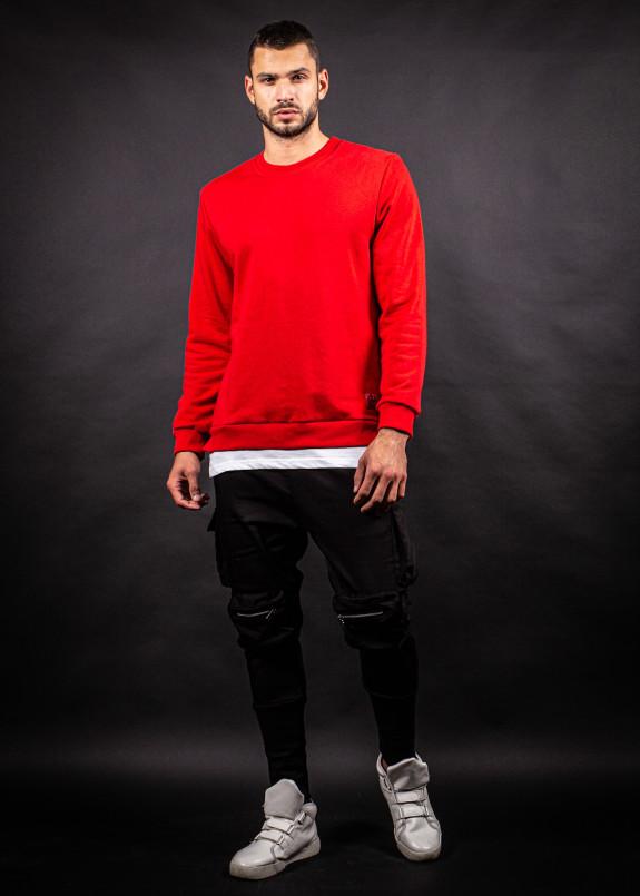 Изображение Кофта красная с трехнитки с вставкой снизу MFStore