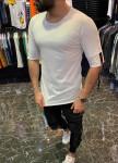 Изображение Мужская белая футболка с стропами MFStore
