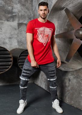 Изображение Футболка с треугольником удлиненная красный MFStore